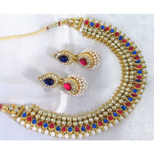 Pink And Blue Tilak Pearl Gota Necklace Set
