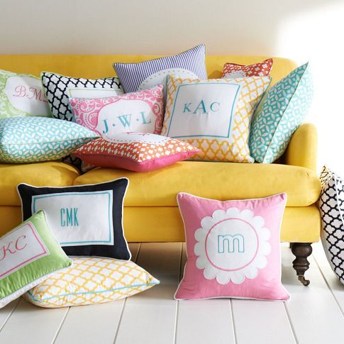 Throw Pillows Primark : Monogram Pillow Cover PBteen Dorm Room and College Life Pinterest The o jays, Monogram ...