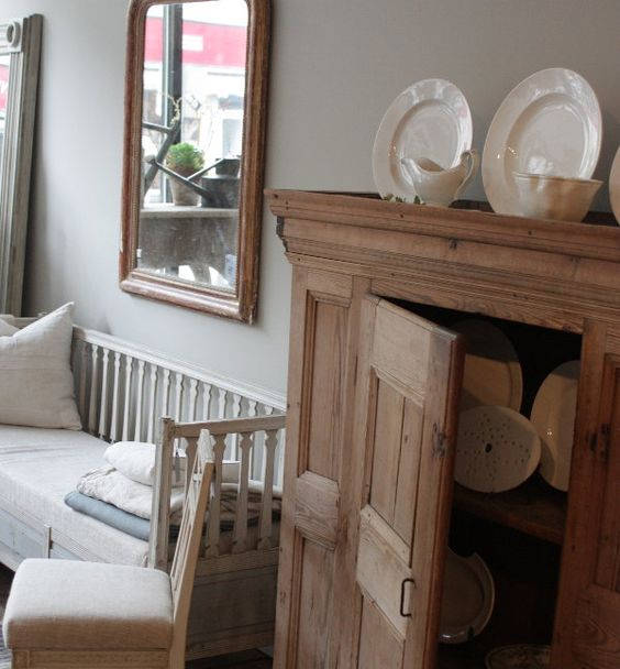 swedish chest & bench at Red Chair on Warren. French Farmhouse White Decorating Ideas.