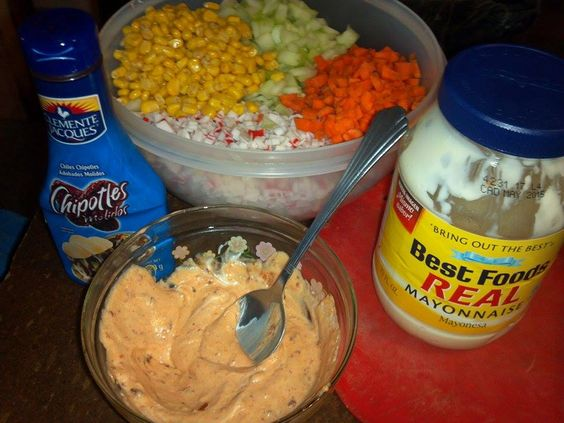 Ensalada de surimi mayonesa surimi elote zanahoria pepino - Ensalada de zanahorias ...