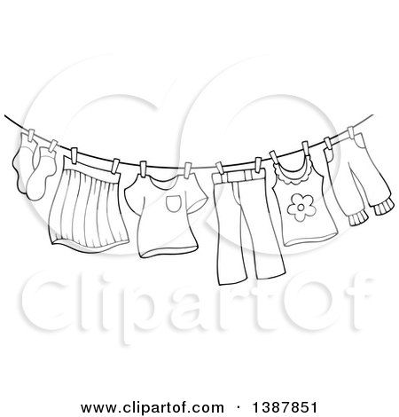 Clipart Of A Black And White Lineart Clothes Line With Laundry Air Drying Royalty Free Vector Illustratio Clothes Line Free Vector Illustration Laundry Icons