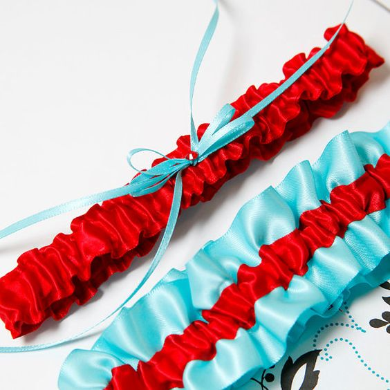 Tiffany Blue and Red Bridal Garter SET - MED/LG. $19.00, via Etsy.