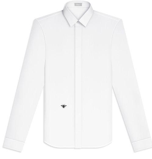 Dior Homme  Chemise en coton blanc, broderie abeille, 390 euros