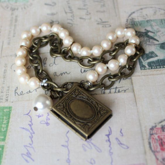 Book Locket pearl and chain charm bracelet by outoftheblue on Etsy, $22.00