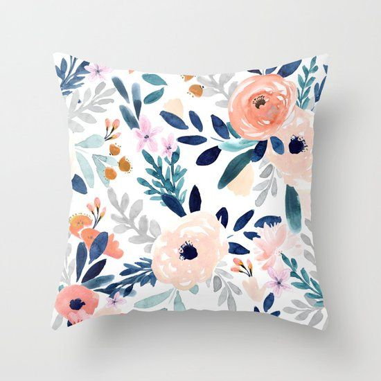Jolene Floral Throw Pillow By Crystalwalen Society6 In 2020 Designer Throw Pillows Floral Throw Pillows Colorful Throw Pillows