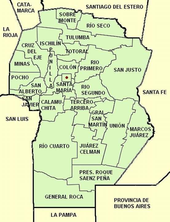Mapa Provincia De Cordoba Politico.Mapa De La Provincia De Cordoba Con Sus 26 Departamentos