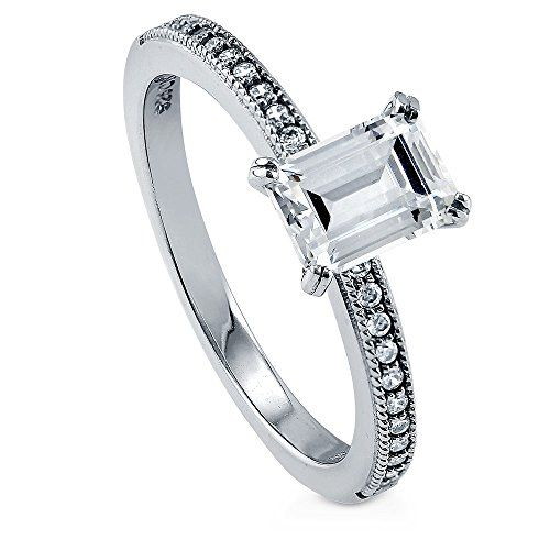 BERRICLE Rhodium Plated Sterling Silver Cubic Zirconia CZ Solitaire Engagement Ring Size 6. Metal: rhodium plated .925 sterling silver, nickel free. Main Stone: 1 carat emerald cut clear cubic zirconia (7mm x 5mm). Accent Stone: 0.11 carat cubic zirconia. Ring Band Width: 2mm.