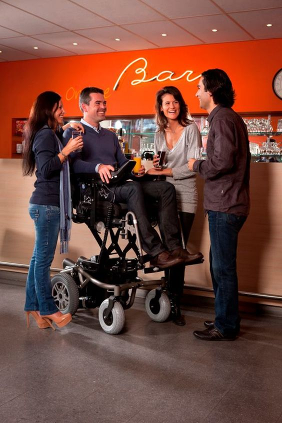 my short period living in a wheelchair taught me one of the problems that come from being down low when talking to others, specially in social situations. you are too easy to ignore by others and are often left out of the conversation. this wheelchair design would have stopped that, i'm sure.