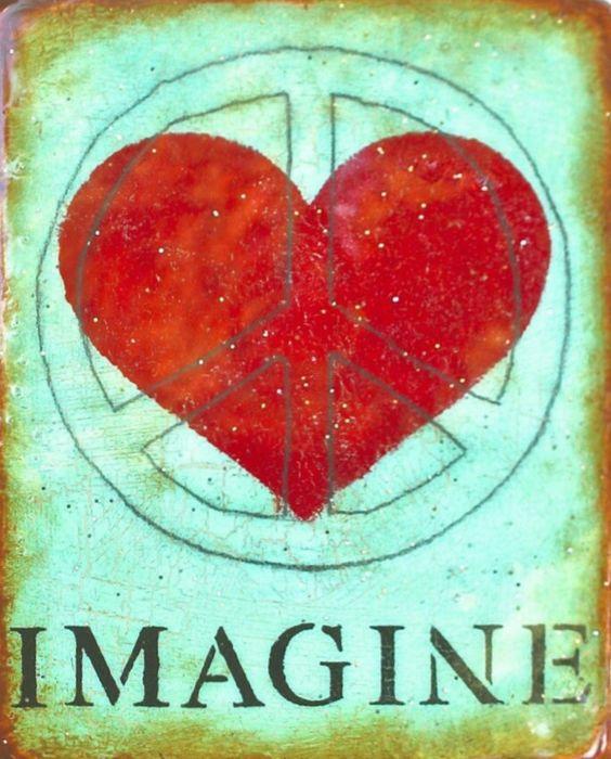 """""""Imagine"""" Peace & Love ✌Peace Sign & ❤Heart❤ __[Via Etsy by HornbyIslandPeaceWrk] #cAqua #cRed #Hippilicious"""