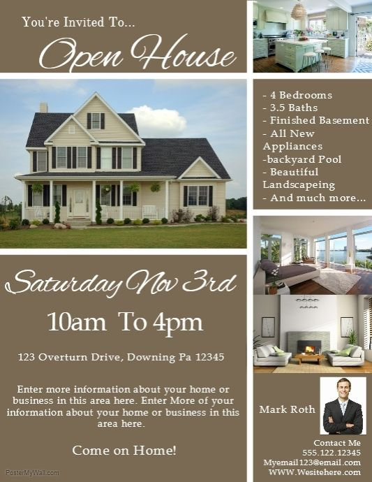 Create The Perfect Poster Flyer Or Social Media Graphic By Customizing Our Easy To Use Templates Free Down Open House Flyer Open House Open House Real Estate