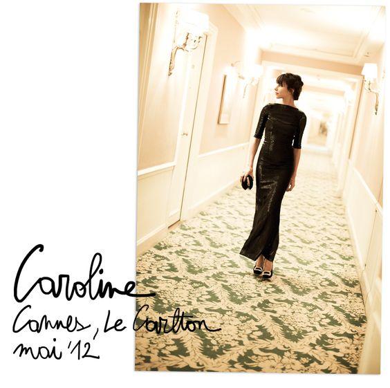 Caroline, Cannes…   Garance Doré. A simple, gorgeous formal black gown.