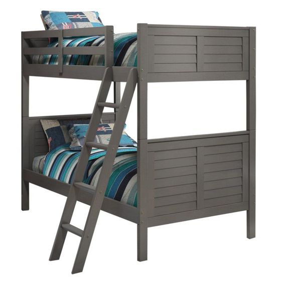 louver twin over twin bunk bed gray - wcm742-2