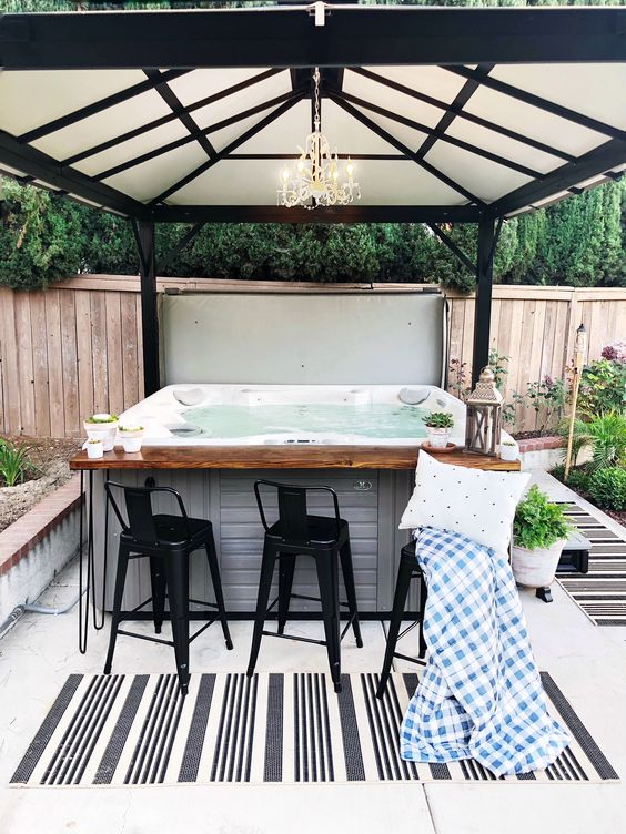 backyard hot tub oasis . . #fiddleleafinteriors #hottub #outdoordecor
