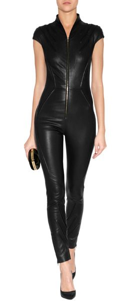 Turn up the heat with a lick of leather in Jitrois' figure-hugging lambskin jumpsuit #Stylebop #cat #woman
