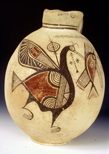 Jug with painted decoration of a bird and a fish from Petrofani-Malloura of Cypro-Archaic I period, 750-600 BC. Courtesy of the Cyprus Archaeological Museum.: