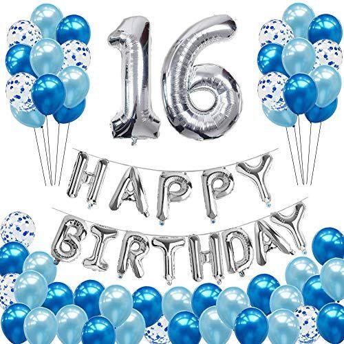 16th Birthday Balloons Decorations Hulaso 52pcs Happy Birthday Party Supplies With Happy 16th Birthday Happy Birthday Party Supplies Boy Birthday Decorations