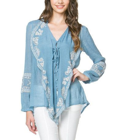 Another great find on #zulily! Blue Embroidered V-Neck Top #zulilyfinds