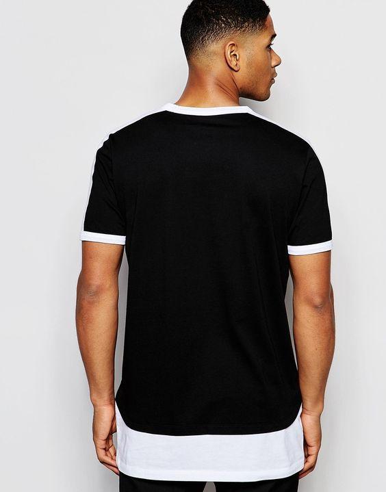 Imagen 2 de Camiseta muy larga con bajo en contraste y cinta monocromática de ASOS