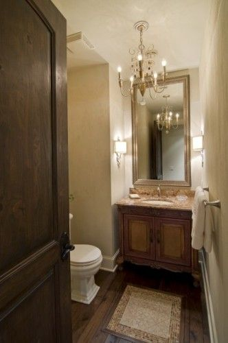 Gorgeous powder room especially the wood tile flooring for Gorgeous powder rooms