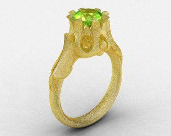 Classic 14K Green Gold Three Stone Black Diamond by artmasters