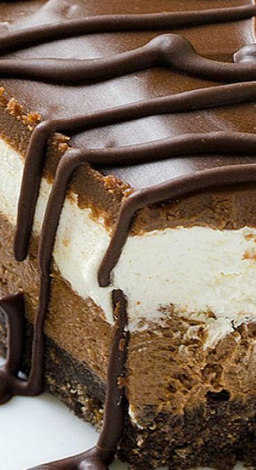 Layered Chocolate Cheesecake with Oreo Crust