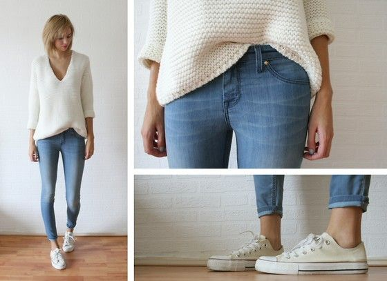 Comfy & chic! L-O-V-E this light weight sweater! Classic white w/ v neck SO chic. You can do so much w/ this outfit (play it up or down ).....like flats, peel toe or classic heel, booties, etc! U could even wear boot-cut & roll them up (it's cute & comfy)!