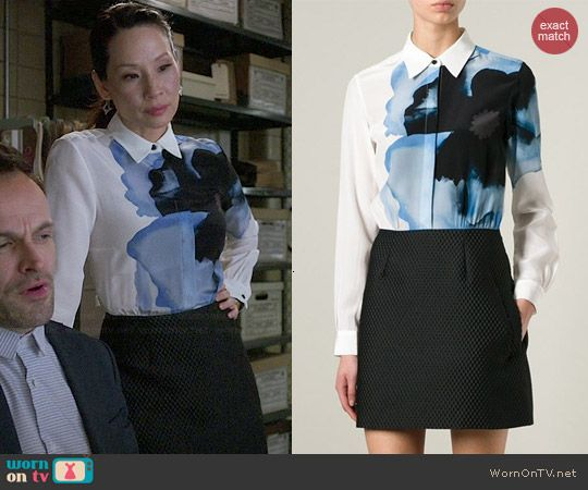Joan's white shirt dress with blue flower on Elementary.  Outfit Details: https://wornontv.net/46771/ #Elementary