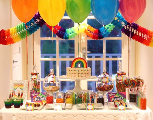 Rainbow Theme Party  . . . Dessert Table