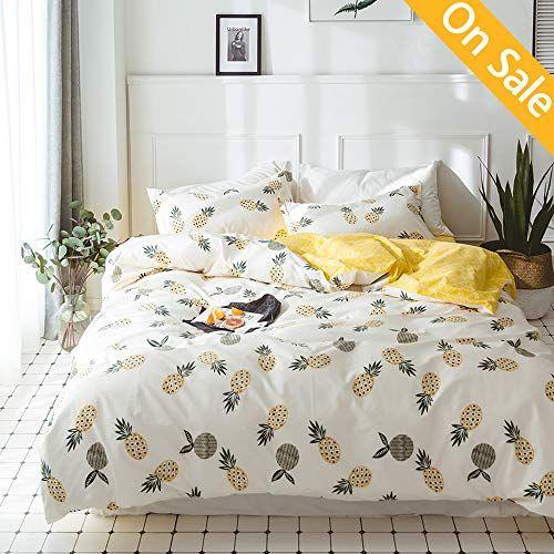 Newest Arrival Girls Duvet Cover Cartoon Duvet Cover Pineapple Bed Set Queen Cotton Light Yellow Fruits Kids Comforter Cover Geometric Duvet Kids Duvet Cover
