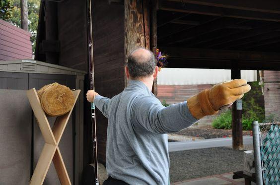 Rick Beal of the nanka kyudo kai shoots makiwara at the Rancho Park Archery Range.