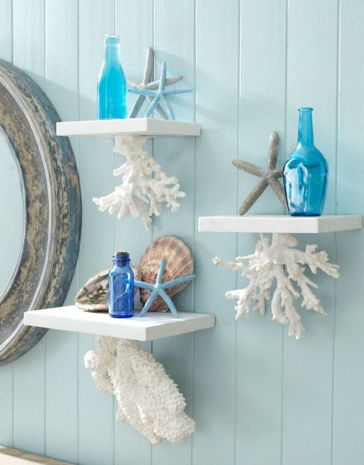 Decorative Wall Shelves With A Coastal Nautical Theme Bathroom Design Decor Beach Theme Bathroom Decor