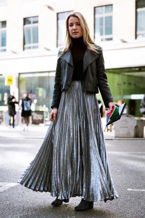 La jupe longue lamée