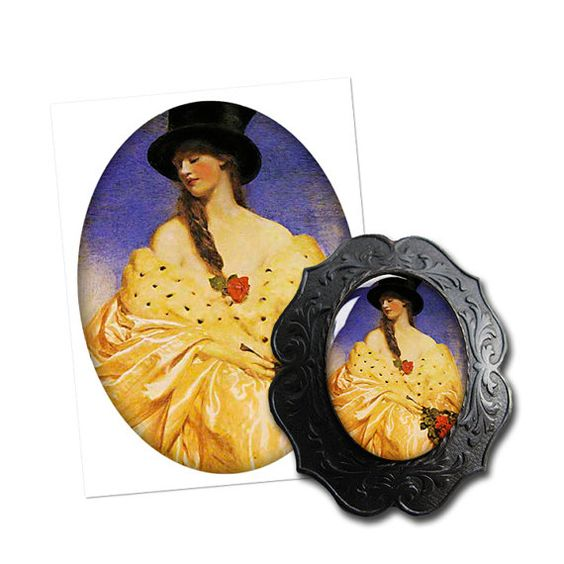 Top hat and mink - digital collage sheet by Glimmersmith, $0.96