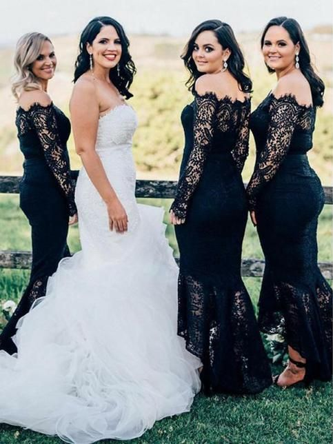Welcome To Our Store Thanks For Your Interested In Our Gowns We Could Make T Black Lace Bridesmaid Dress Long Sleeve Bridesmaid Dress Lace Bridesmaid Dresses