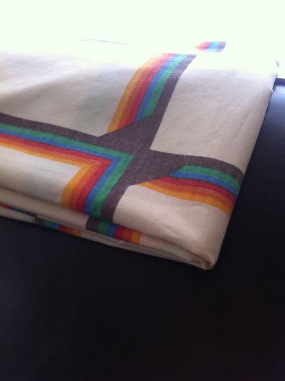 Brown Rainbow 1970s Pillow Case Vintage by veganonmilkstreet, $6.00