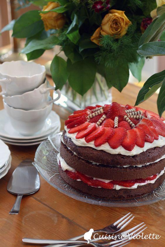 Erdbeer-Schoko-Torte mit Mascarpone-Creme | Cuisine Violette