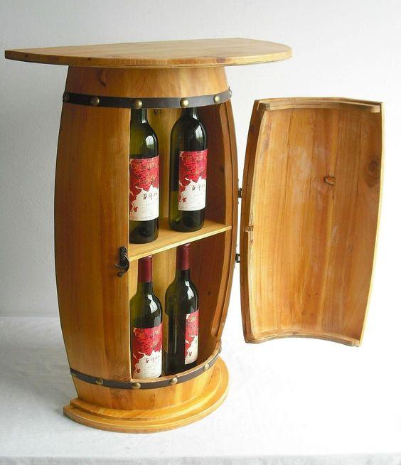 Amazon.de: Wandtisch Tisch Weinfass 0373 Schrank Weinregal Fass aus Holz 73cm Beistelltisch Konsole