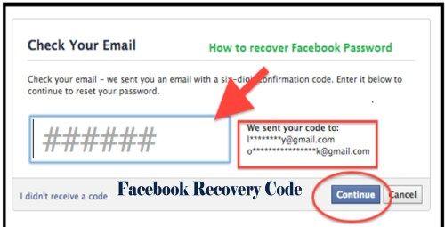 Facebook Recovery Code Recover Facebook Account Facebook