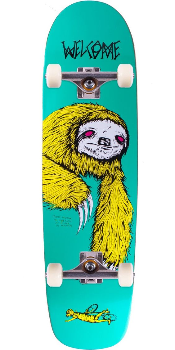 """Welcome Sloth on Waxing Moon V2 Skateboard Complete - Teal - 8.50"""" You'll be moving exactly opposite to the way that this sloth moves. Just watch out for those claws!"""