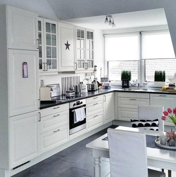 ikea-kueche-schwarz-weiss-ideen Kitchen; Remodel Pinterest - ikea kuche schwarz weiss