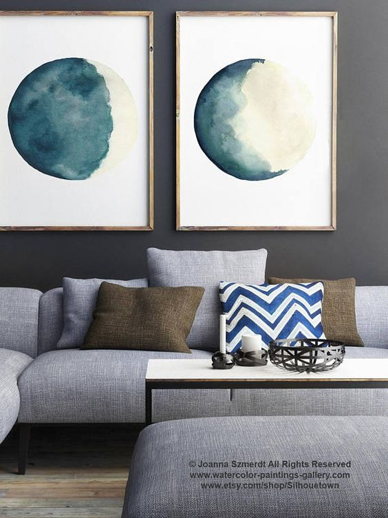 Canvas Moon Phases Two Watercolour Paintings, set 2 Waxing Crescent, Waning Gibbous Moon Phase Art Print Teal Cream Watercolor Painting