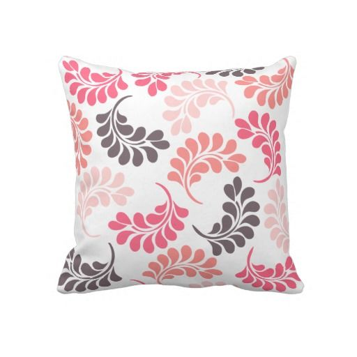 Coral Pink Brown Floral Throw Pillow #coral #floral #flowers #throw #pillow #cushion http://www ...