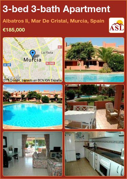 3-bed 3-bath Apartment in Albatros Ii, Mar De Cristal, Murcia, Spain ►€185,000 #PropertyForSaleInSpain