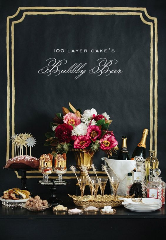Champagne bar Credit: Erin Hearts Court/Brown Paper Design via 100 Layer Cake | Top 10 Dessert Table or Candy Bar Alternatives #wedding #dessert