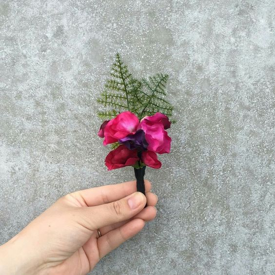 Sweet pea and fern boutonniere
