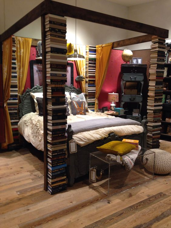 anthropologie. books stacked as bed posts. the fashion mall at ...