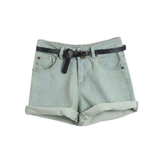 Light Blue Drawstring Waist Vintage Denim Short (1.330 RUB) ❤ liked on Polyvore featuring shorts, bottoms, pants, short, denim short shorts, jean shorts, short shorts, short jean shorts and light blue jean shorts