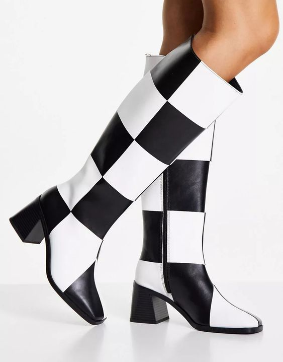Monki Polly vegan checkerboard knee high heeled boots in black