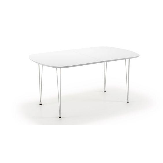 LaForma Uitschuifbare eettafel 'Quiz', wit/wit
