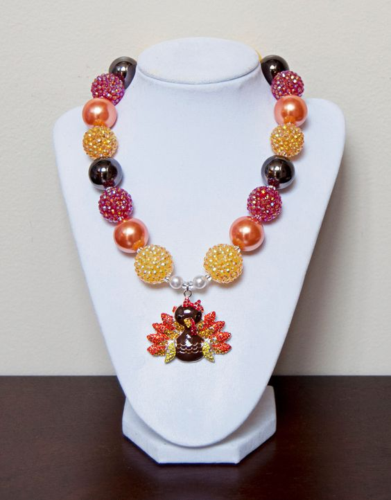 Thanksgiving Chunky Necklace - Orange, Yellow, Red, and Brown Fall Halloween Bubblegum Necklace withRhinestone Turkey Pendant by PinkLiliesBoutique on Etsy https://www.etsy.com/listing/209930370/thanksgiving-chunky-necklace-orange